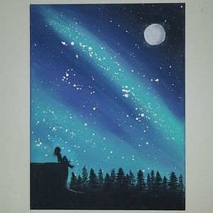 Original artwork moon and star night sky painting